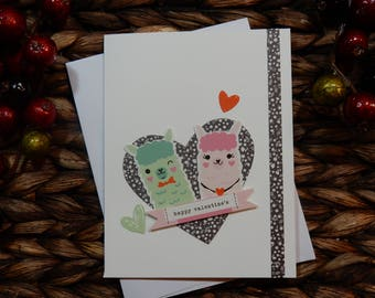 Valentines Greeting Card / Handmade Greeting Card / Blank Inside Greeting Card / Stamped Greeting Card / Greeting Card / Love Card