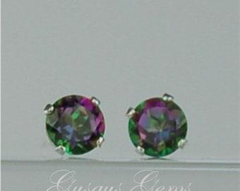 Rainbow Topaz Stud Earrings Sterling Silver 4mm Round .55ctw