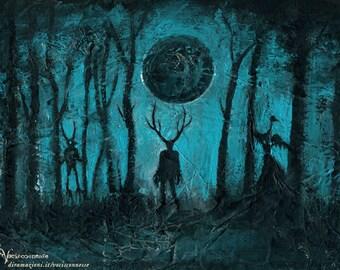 Lunar Eclipse - Eclissi Lunare - original painting - on paper A4 21x29.7 cm