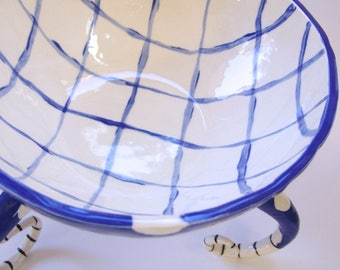 huge whimsical Blue Serving Bowl :) delft blue & white pottery dish with tall curly legs, polka-dots and stripes