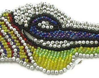 "Sale! Seashell Appliqué with Multi-Colored Beads  4.5"" x 2.25"" -JJ930E-B221"