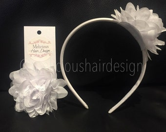 Dahlia Chiffon Lace Flower Clip/Headband - White