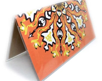 Checkbook Cover - Sunburst Mandala - orange and black kaleidoscope