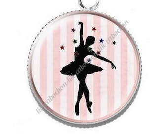Pendant cabochon resin ballerina dancer