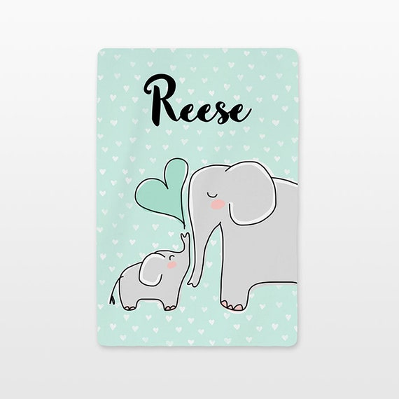Elephant Baby Blanket Personalized Name Custom Unisex Baby Girl Baby Boy Kids Minky Fleece Newborn Gift Idea Cute Animal Gray Mint Green