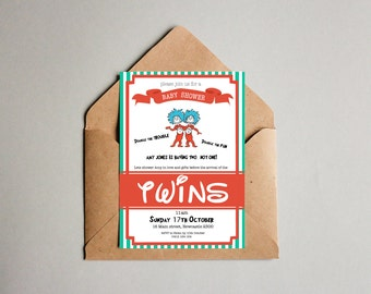 Thing One & Thing Two Twins Disney Baby Shower Invitation