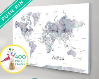 World map canvas etsy personalized push pin world map canvas purple marble watercolor countries capitals usa and canada states gift idea pin it map 240 pins gumiabroncs Image collections