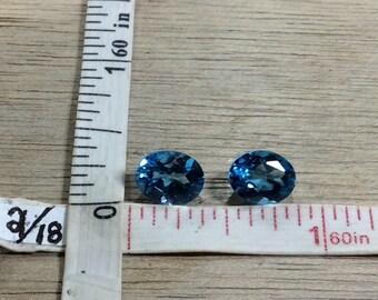 Vintage Pair Blue Topaz Matched Set Faceted Ovals Used