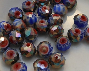 Crystal Beads Faceted Rondelles Blue White Red Millefiori with bronze AB Abacus 8x6mm (Qty 8) MW-8x6R-BWRBAB