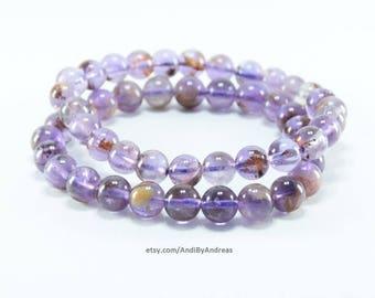 Genuine Rutilated Amethyst Gemstone Stretch Bracelet