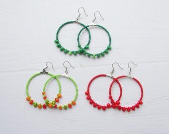 Hoops earrings Statement earrings Hoop earrings Extra thin hoop  earrings Boho earrings Beaded hoop earrings Beaded geometric shape