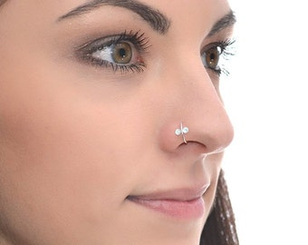 Silver Nose Ring with 2mm Topaz 18g / Daith Earring, Rook Earring, Helix Ring / Cartilage Earring, Tragus Earring, Nose Hoop