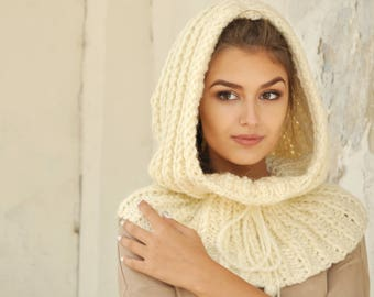 Beauty gift for her Chunky hooded Cowl Scarf Knitted Snood Oversized scarf for women girlfriend Christmas gift Oversized clothing-gift