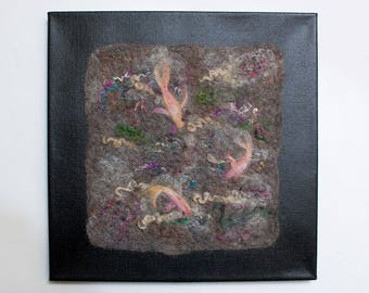 Three Koi Wet Felted Painting