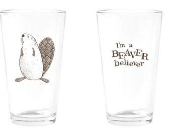 Beaver Believer pint glass