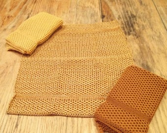 Dishcloths Knit in Cotton in Buttercup, Gold/Yellow/Brt Yellow and Saffron/Buttercup/Sidewalk, Knit Washcloth, Cotton Dishcloth, Dishcloth