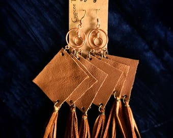 Handmade recycled brown leather fringed gypsy earrings