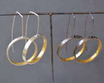 Modern Hoop Earrings- silver and gold- minimalist earrings, long hoop earrings, contemporary drop earrings, geometric earrings