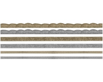 Metallic Gold and Silver Ribbon, Cord and Trim,  6 Yards Total by Tim Holtz Idea-Ology
