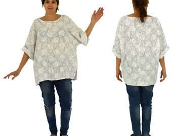 LB700W women's blouse linen used look tunic 3/4 arm one size gr. 38 40 42 44 46 White