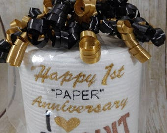 Custom made Embroidered 1st Anniversary Toilet paper.