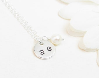 Personalized Necklace - Disc Necklace with Two Initials - Two Letter Monogram Necklace - Silver Initials Necklace - Custom Initial Necklace