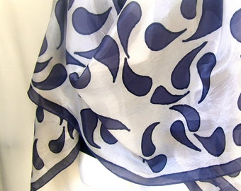 "Hand Painted Silk Scarf, Dark Gray White, Geometrical, Paisley Silk Scarf 71"" x 18"" Long"
