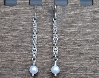 Fine Silver Byzantine Chainmaille earrings with freshwater pearls