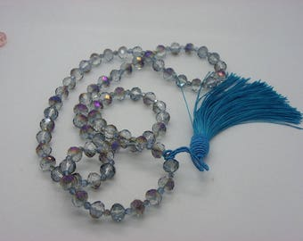Blue with highlights polished 10 mm crystal glass beads necklace with tassel