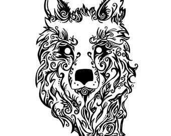 Downloadable Tribal Wolf Print
