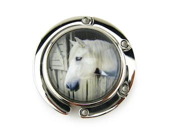 Purse Hanger, Purse Hook, Purse Holder, Folding, Photo, Magnetic, Glass, White Horse, Horse, Horse Gift, Horse Lover