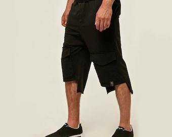 ORTTU Summer Combat Mens Shorts - SUMMER SALE - Stretchy Jersey Oversized Fit Cotton Shorts - Award Winning Designer Clothing - Black NiC1sdzFEo