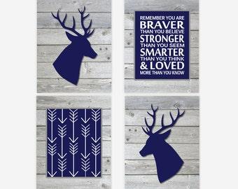 Baby Boy Nursery Art Deer Head Antler Navy Blue Gray Remember You Are Braver Arrows Toddler Boy Room Rustic Wood Baby Nursery Decor Prints