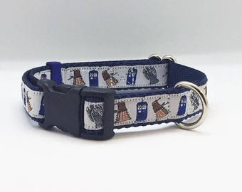 "Doctor Who themed 3/4"" wide adjustable dog collar"