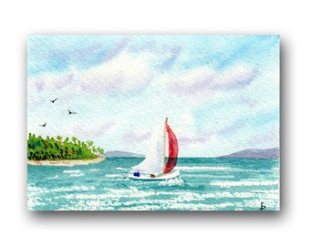 ACEO watercolor SAIL original painting SFA miniature dollhouse mini seascape