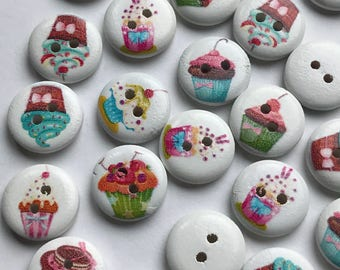 45 X 15mm Round Painted Buttons Destash Lot of Cupcake Buttons