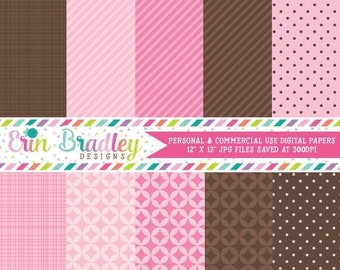 80% OFF SALE Pink and Brown Digital Scrapbooking Paper for Personal & Commercial Use