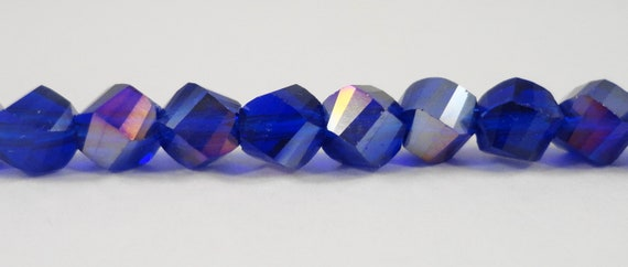 "Helix Crystal Beads 6mm Royal Blue AB Twisted Faceted Chinese Crystal Glass Beads for DIY Jewelry Making on a 7 1/4"" Strand with 33 Beads"