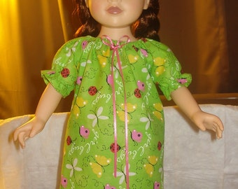 Modest green nightgown with flowers and butterflies for 18 inch Dolls - ag188
