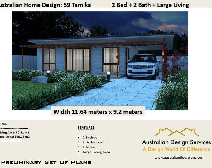 Tamiak 59 Design 59m2 living | 2 Bedroom + Carport | Concept House Plans For Sale- design to meet granny flat requirements -
