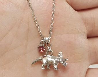 Triceratops Necklace, Dinosaur Necklace, Silver Triceratops, Dinosaur Jewelry, Dinosaur Birthstone Jewelry