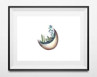 Cactus gift for women, Cacti print, Minimalist modern poster, Succulent print, Cactus print gift, Cactus PRINTABLE, PENCIL DRAWING art