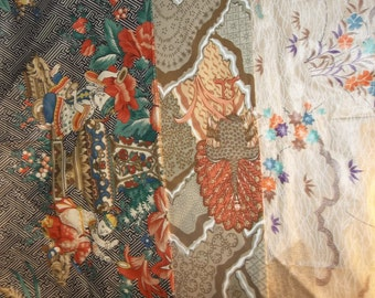 Remnant Lot Vintage Schumacher Fabric Waverly Fabric Asian Theme Fabric Samples Vintage Chintz Fabric Japanese Style 1980s 80s