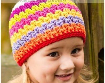 Stripe Winter Hat, 5T-Preteen Girls Hat, Rainbow Winter Beanie, Rainbow Crochet Hat for Girls, Tween Winter Hat, Girls Crochet Winter Hat