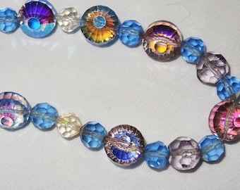 """Vintage Strand AURORA BOREALIS Clear Blue and Art Glass Bead Necklace, Total Length 29"""""""