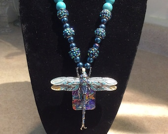 Dichroic Necklace with Dragonfly Over-lay