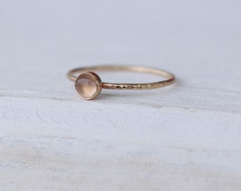 14 K  Gold stackable Ring with Chalcedony