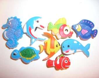 8 Fishes or Ocean animals Button Shoe Charms for Jibbitz bracelets or Crocs shoes