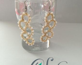 Golden, long tatted earrings