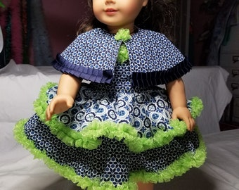 2-Piece Party Dress with fully lined cape, Navy blue and Lime green.